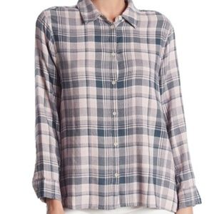 Melrose and Market Button Down Plaid Flannel Top
